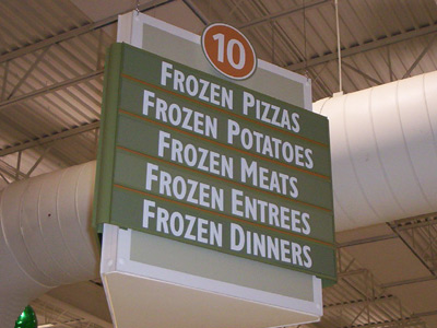 Grocery store aisle marker